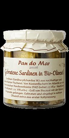 Stegte Sardiner i Økologisk Olivenolie i Glas 220 g.
